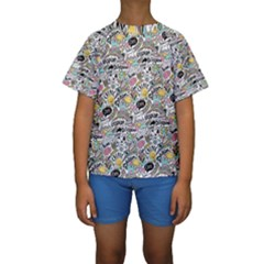 Communication Web Seamless Pattern Kids  Short Sleeve Swimwear by kostolom3000shop