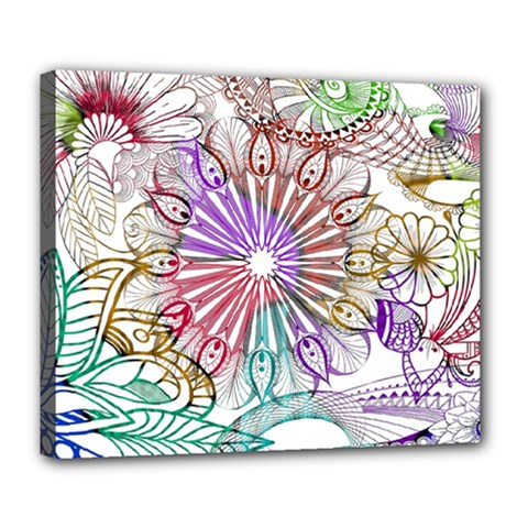 Zentangle Mix 1116b Deluxe Canvas 24  X 20   by MoreColorsinLife