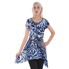 Zentangle Mix 1216b Short Sleeve Side Drop Tunic by MoreColorsinLife