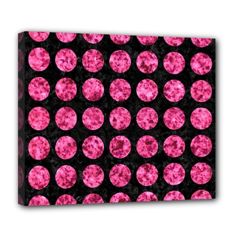 Circles1 Black Marble & Pink Marble Deluxe Canvas 24  X 20  (stretched) by trendistuff