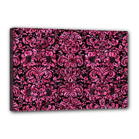 Damask2 Black Marble & Pink Marble Canvas 18  X 12  (stretched) by trendistuff
