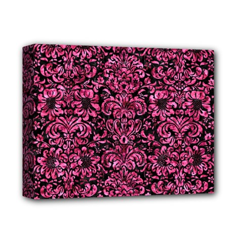 Damask2 Black Marble & Pink Marble Deluxe Canvas 14  X 11  (stretched) by trendistuff