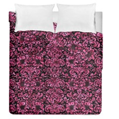 Damask2 Black Marble & Pink Marble Duvet Cover Double Side (queen Size) by trendistuff
