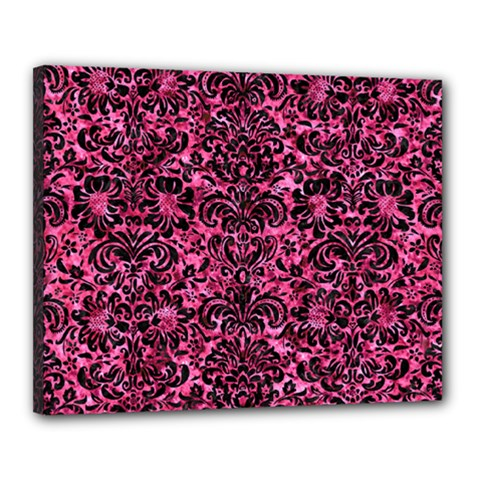 Damask2 Black Marble & Pink Marble (r) Canvas 20  X 16  (stretched) by trendistuff