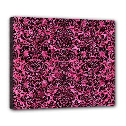 Damask2 Black Marble & Pink Marble (r) Deluxe Canvas 24  X 20  (stretched) by trendistuff