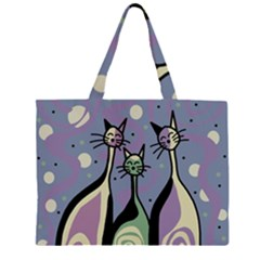 Cats Zipper Large Tote Bag by Valentinaart