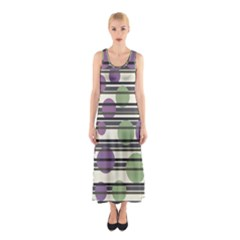Purple And Green Elegant Pattern Sleeveless Maxi Dress