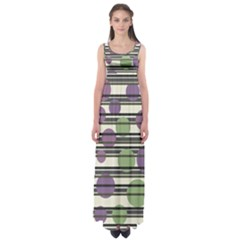 Purple And Green Elegant Pattern Empire Waist Maxi Dress by Valentinaart