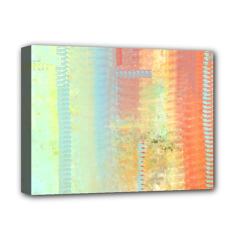 Unique Abstract In Green, Blue, Orange, Gold Deluxe Canvas 16  X 12   by digitaldivadesigns