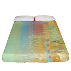 Unique Abstract In Green, Blue, Orange, Gold Fitted Sheet (king Size) by digitaldivadesigns