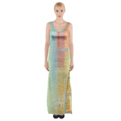 Unique Abstract In Green, Blue, Orange, Gold Maxi Thigh Split Dress by digitaldivadesigns