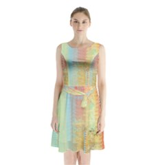 Unique Abstract In Green, Blue, Orange, Gold Sleeveless Chiffon Waist Tie Dress