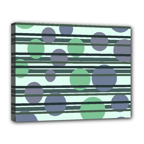 Green Simple Pattern Canvas 14  X 11  by Valentinaart