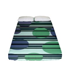 Green Simple Pattern Fitted Sheet (full/ Double Size) by Valentinaart