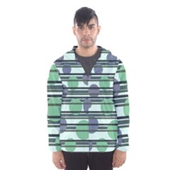 Green Simple Pattern Hooded Wind Breaker (men)