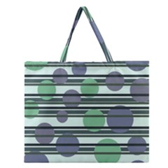 Green Simple Pattern Zipper Large Tote Bag by Valentinaart