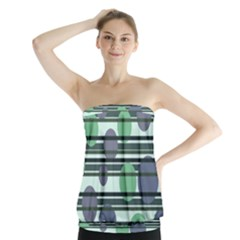 Green Simple Pattern Strapless Top