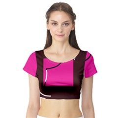 Pink Square  Short Sleeve Crop Top (tight Fit)