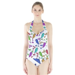Birds And Flowers Halter Swimsuit by Valentinaart