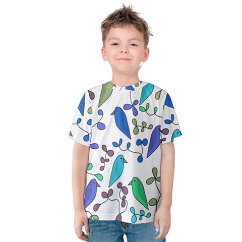 Birds And Flowers - Blue Kids  Cotton Tee by Valentinaart
