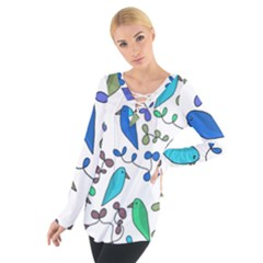 Birds And Flowers   Blue Women s Tie Up Tee