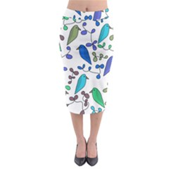 Birds And Flowers   Blue Midi Pencil Skirt by Valentinaart
