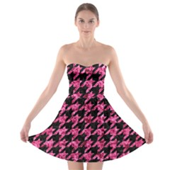 Houndstooth1 Black Marble & Pink Marble Strapless Bra Top Dress
