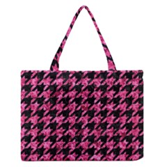 Houndstooth1 Black Marble & Pink Marble Medium Zipper Tote Bag by trendistuff