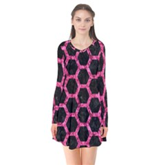Hexagon2 Black Marble & Pink Marble Long Sleeve V Neck Flare Dress by trendistuff