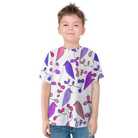 Flowers And Birds Pink Kids  Cotton Tee by Valentinaart