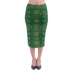 Magic Peacock Night Midi Pencil Skirt by pepitasart