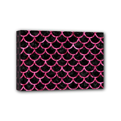 Scales1 Black Marble & Pink Marble Mini Canvas 6  X 4  (stretched) by trendistuff