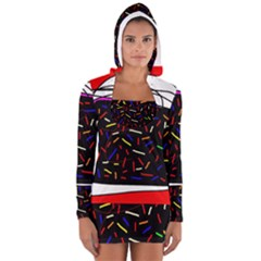 Color Tv Women s Long Sleeve Hooded T Shirt by Moma