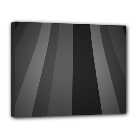 Black Minimalistic Gray Stripes Canvas 14  X 11