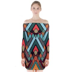 Abstract Mosaic Color Box Long Sleeve Off Shoulder Dress by AnjaniArt