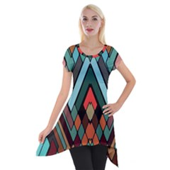 Abstract Mosaic Color Box Short Sleeve Side Drop Tunic