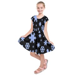 Blue Black Resolution Version Kids  Short Sleeve Dress