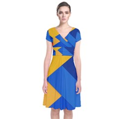 Box Yellow Blue Red Short Sleeve Front Wrap Dress