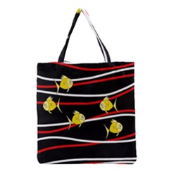 Five Yellow Fish Grocery Tote Bag by Valentinaart