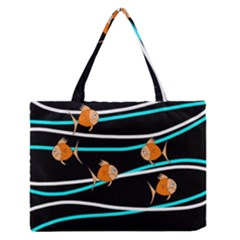 Five Orange Fish Medium Zipper Tote Bag by Valentinaart