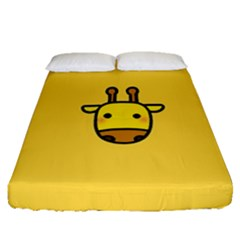 Cute Face Giraffe Fitted Sheet (queen Size)