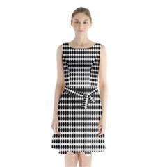 Dark Circles Halftone Black White Copy Sleeveless Chiffon Waist Tie Dress