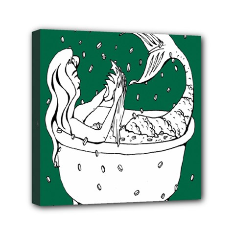 Green Mermaid Mini Canvas 6  X 6  by AnjaniArt