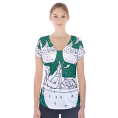 Green Mermaid Short Sleeve Front Detail Top