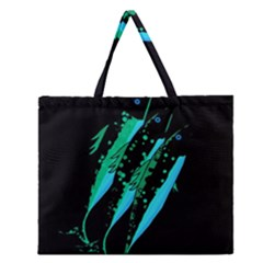 Green Fish Zipper Large Tote Bag by Valentinaart