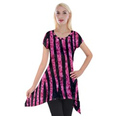 Skin4 Black Marble & Pink Marble (r) Short Sleeve Side Drop Tunic