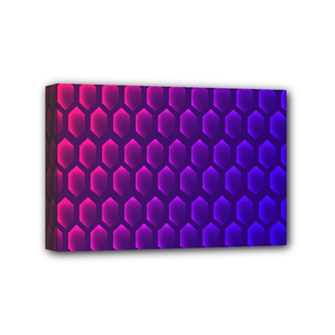 Outstanding Hexagon Blue Purple Mini Canvas 6  X 4  by AnjaniArt
