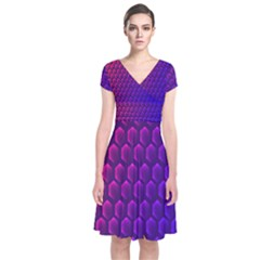 Outstanding Hexagon Blue Purple Short Sleeve Front Wrap Dress