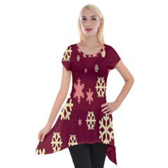Red Resolution Version Short Sleeve Side Drop Tunic