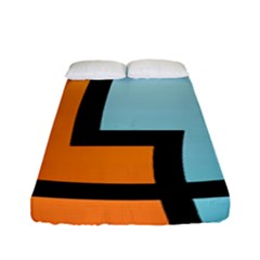 Two Fafe Orange Blue Fitted Sheet (full/ Double Size)